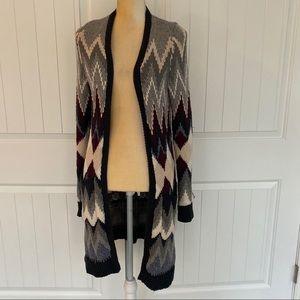 American Eagle zig zig long cardigan sweater sz SP